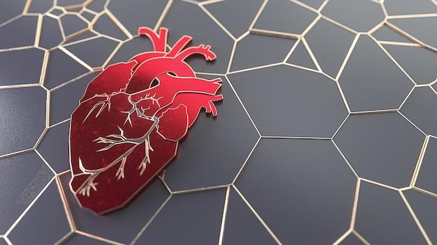 Streszczenie płaskie serce na koncepcji powierzchni kamienia. medycyna lub chirurg kopia przestrzeń szablon suwaka witryny sieci web. ilustracja 3d