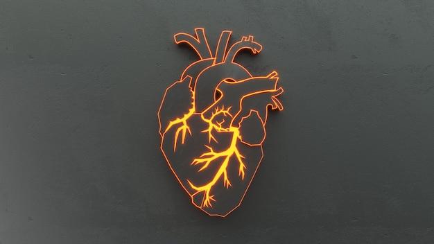 Streszczenie płaskie serce na koncepcji powierzchni kamienia.