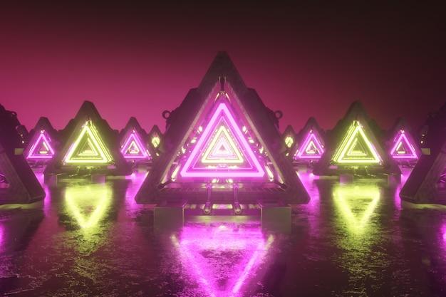 Streszczenie pływających trójkątów z neonów