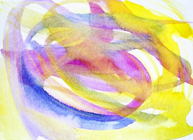Streszczenie pociągnięcia pędzlem i plamy farby na papierze. akwarela tekstury na tle kreatywnych