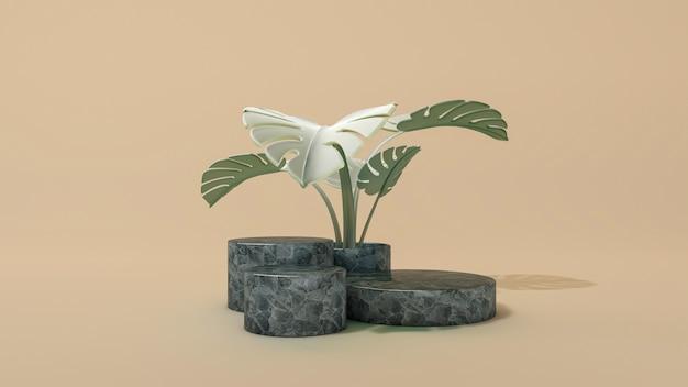 Streszczenie podium koło minimalistycznej sceny z liśćmi monstera. ilustracja 3d. przedni widok. marmurowe cylindry na białym tle.
