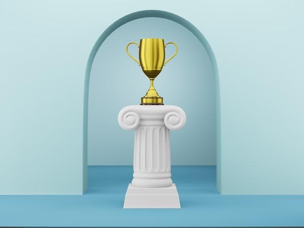 Streszczenie podium kolumna ze złotym trofeum na niebiesko z łukiem, renderowania 3d