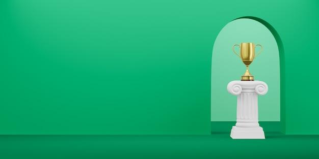 Streszczenie podium kolumna ze złotym trofeum na zielono z łukiem