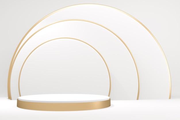 Streszczenie podium na cokole ze złotym i białym podium w minimalistycznym designie. renderowanie 3d