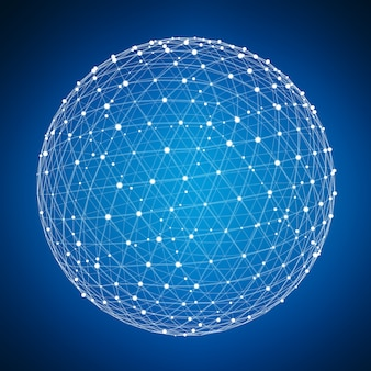 Streszczenie połączenia kuli internetowej z miejsca i renderowania 3d linii