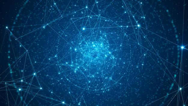Streszczenie połączone kropki i linie na czarnym tle. sieć połączeń technologii i koncepcja dużych zbiorów danych z ruchomymi liniami i kropkami.