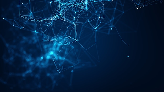 Streszczenie połączone kropki i linie na niebieskim tle. koncepcja sieci komunikacji i technologii z ruchomymi liniami i kropkami.