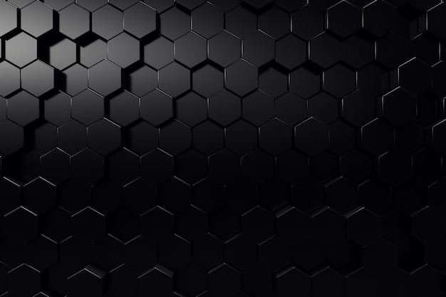 Streszczenie powierzchni geometrycznej. sześciokątne czarne tło. renderowanie 3d