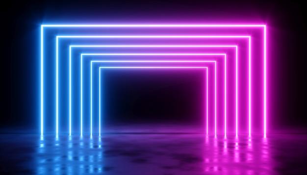Streszczenie projektu z blaskiem neonowego lasera na ciemnym tle, ilustracja 3d
