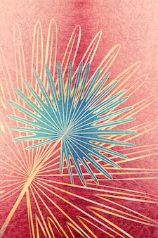 Streszczenie projektu ze złotymi tropikalnymi liśćmi ilustracja.