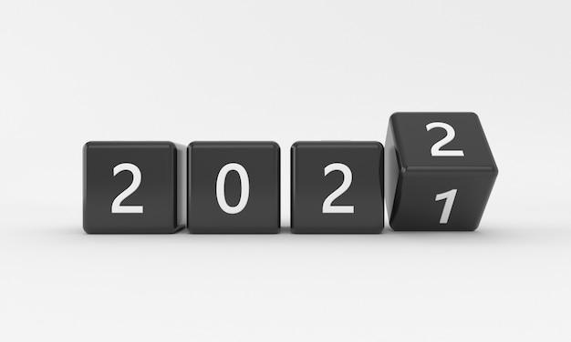 Streszczenie przejścia nowego roku 2021 na 2022 z czarnymi sześcianami lub blokami na białym tle