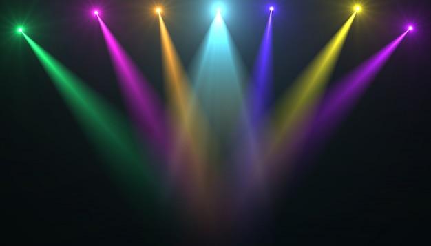 Streszczenie pustej scenie z kolorowymi reflektorami