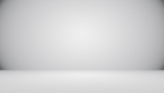 Streszczenie pusty ciemny biały szary gradient z oświetleniem black winiety stałe studio ściany i podłogi tła dobrze wykorzystać jako tło. tło pusty biały pokój z miejscem na tekst i obraz.