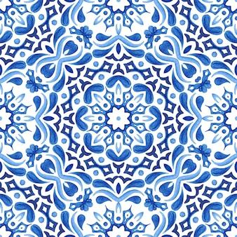 Streszczenie ręcznie rysowane akwarela bezszwowe płytki ozdobny wzór. elegancka gwiazda mandali na tkaniny i tapety