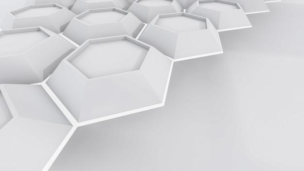 Streszczenie renderingu 3d białego sześciokąta ilustracji