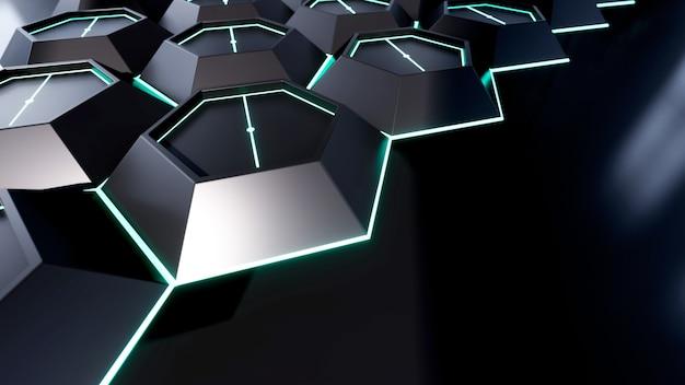 Streszczenie renderingu 3d czarnego sześciokąta ilustracji