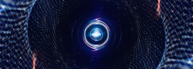 Streszczenie renderowania 3d futurystyczny niebieski połysk siatki tunel komunikacyjny siatki. 3d ilustracja drutu ramki fantasy tunelu na tle transparentu prezentacji cyfrowej hi technologii. cyberpunkowa ilustracja.