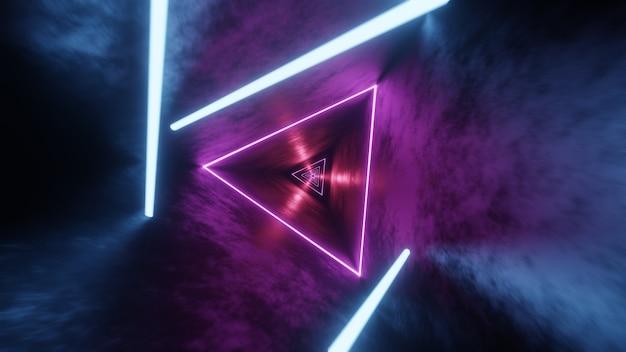 Streszczenie renderowania 3d neon, świecące rurki światła, lasery i linie podskakujące i poruszające się do przodu w ciemnym tunelu.