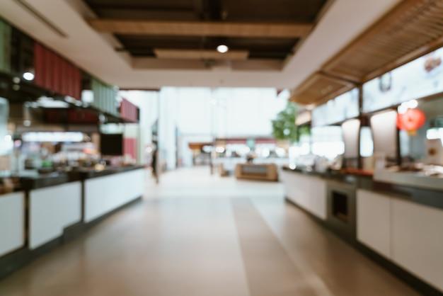 Streszczenie rozmycie i niewyraźne centrum sądu żywności w centrum handlowym