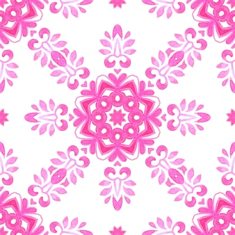 Streszczenie różowe i białe ręcznie rysowane dachówka bezszwowe ozdobne farby akwarelowe wzór