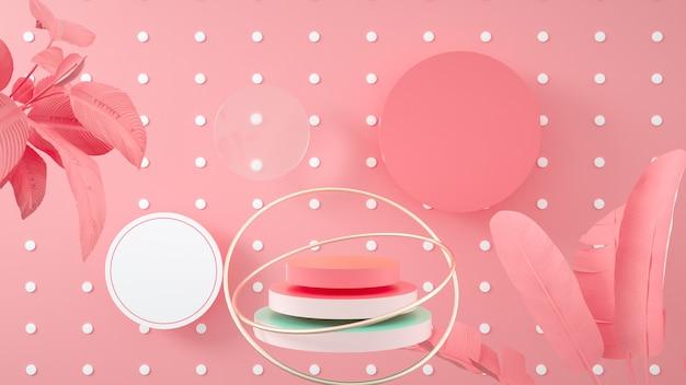 Streszczenie różowe tło geometryczne z podium koło na stojak na produkt