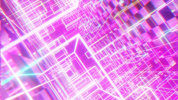 Streszczenie różowy cyber futurystyczny blask tła