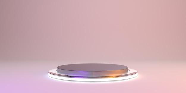 Streszczenie różowy z metalowym podium w kształcie produktu. świecące minimalnie. renderowania 3d