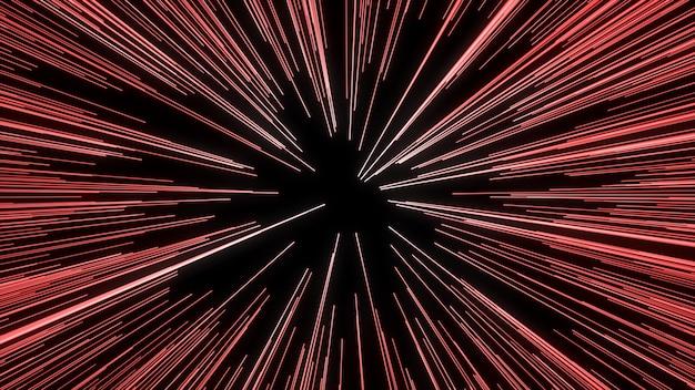 Streszczenie ruchu osnowy lub hiperprzestrzeni w szlaku czerwonej gwiazdy. eksplodujący i rozszerzający się ruch