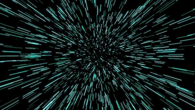 Streszczenie ruchu osnowy lub hiperprzestrzeni w szlaku niebieskiej gwiazdy. eksplodujący i rozszerzający się ruch. ilustracja
