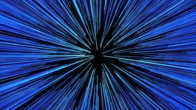 Streszczenie ruchu osnowy lub hiperprzestrzeni w szlaku niebieskiej gwiazdy. eksplodujący i rozszerzający się ruch
