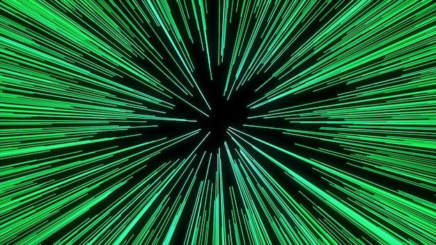 Streszczenie ruchu osnowy lub hiperprzestrzeni w szlaku zielonej gwiazdy. eksplodujący i rozszerzający się ruch