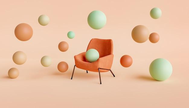 Streszczenie scena aksamitnego krzesła z gradientowymi kolorowymi kulkami unoszącymi się wokół