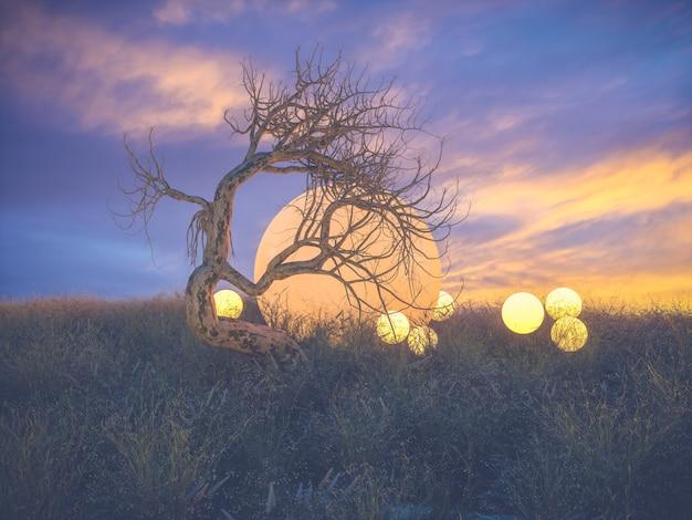 Streszczenie sceny fantasy z martwym drzewem.