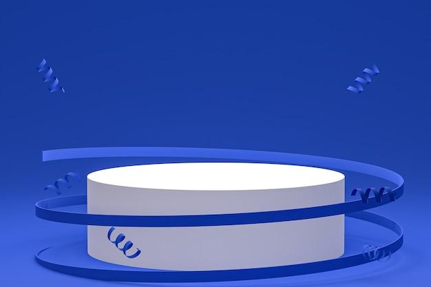 Streszczenie sceny niebieskie tło z podium cylindra, konfetti i wstążkami