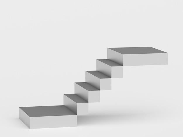 Streszczenie schody. schody ze stopniami, koncepcja biznesowa. renderowanie 3d