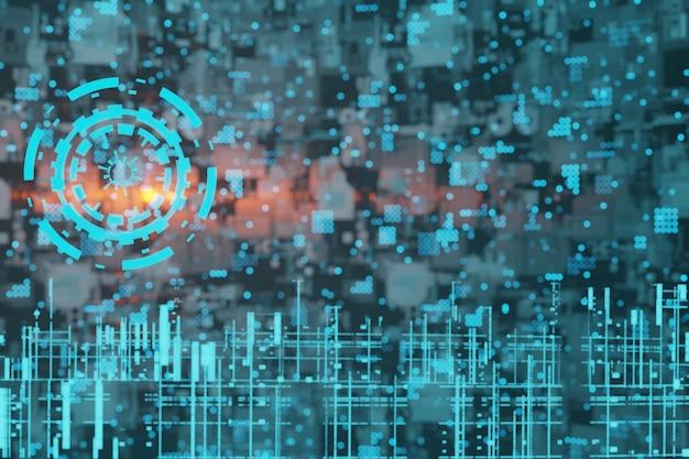 Streszczenie sci-fi futurystyczny hologram hud gui 3d tło