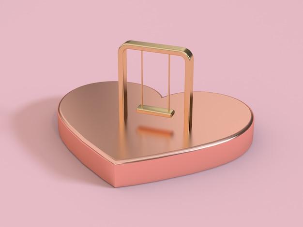 Streszczenie serce metaliczny różowy, różowe złoto i huśtawka na górze