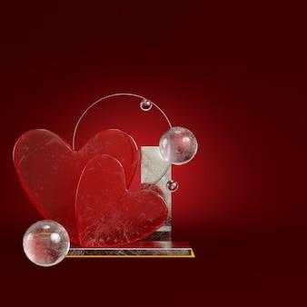 Streszczenie serce z figur geometrycznych na ciemnoczerwonym