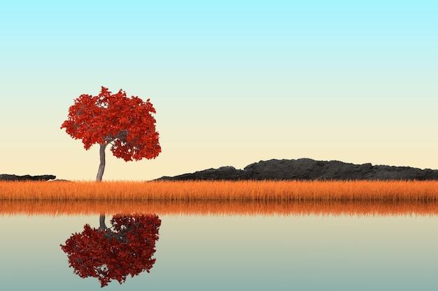 Streszczenie singl jesień drzewo stojący w długiej trawie na zbliżenie skrajne brzegu rzeki. renderowanie 3d