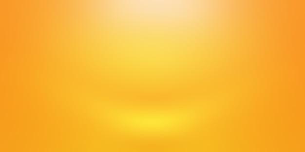 Streszczenie stałe błyszczące żółte studio gradientowe ściany pokoju tło.