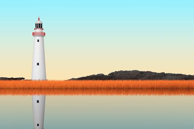 Streszczenie stara latarnia stojąca w długiej trawie na skrajny zbliżenie brzegu rzeki. renderowanie 3d