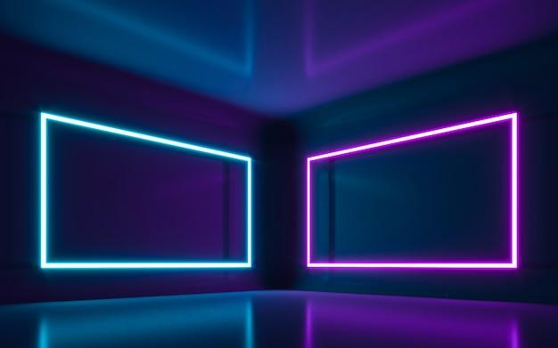 Streszczenie światło neonowe w pustym pokoju. renderowanie 3d
