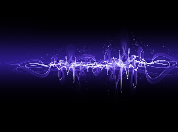 Streszczenie świecąca fala elektryczna na ciemnym tle