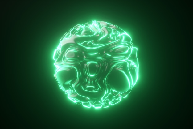 Streszczenie świecąca kula neon. abstrakcjonistyczny tło z futurystycznymi zielonymi falistymi czochrami. kształt 3d z efektownym kręconym wzorem. 3d ilustracji