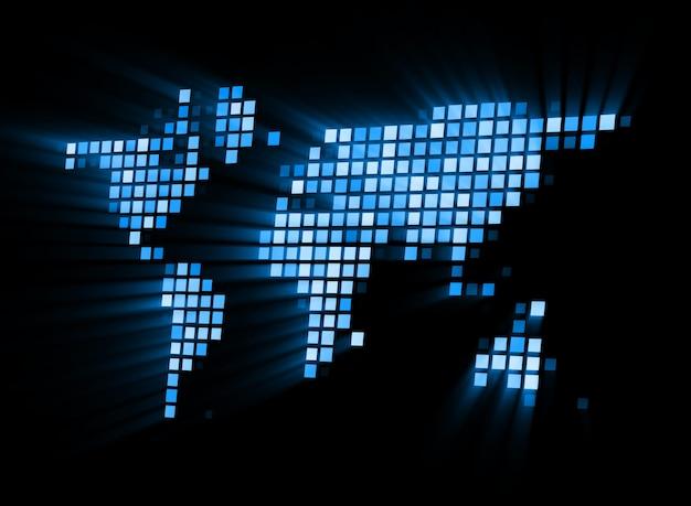 Streszczenie świecące Mapy świata Premium Zdjęcia