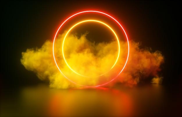 Streszczenie świecące neonowe koło kształt i tło chmury.