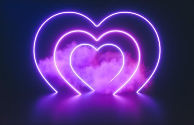 Streszczenie świecące neonowe serce kształt i tło chmury.