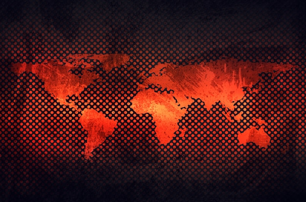 Streszczenie szary zardzewiały blachy z wytłoczoną mapę świata w tle perforowane