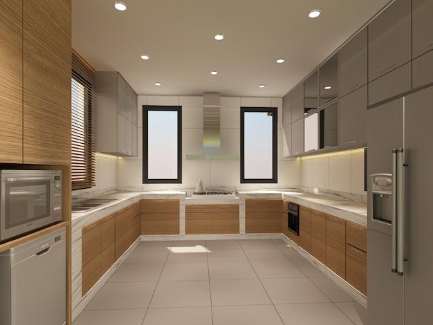Streszczenie szkic projektu wnętrza kuchni, renderowania 3d