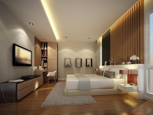 Streszczenie szkic projektu wnętrza sypialni, renderowania 3d